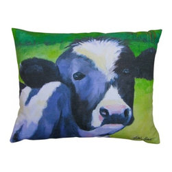 Robin Rowe - Spike The Cow Accent Pillow - An easy, breezy way to add freshness and color to any room in your home is with Indeed Decor's cow accent pillow.  Adding two or three accent pillows to your sofa or bed is an easy and inexpensive way to transform a room with bright and cheerful spring hues. A selection of Robin Rowe's original paintings are now printed on linen for a new line of designer pillows. The linen pillow back displays a stitched woven damask label of the Roweboat logo. The pillow is a down blend with an invisible zipper for easy cleaning. All pillows are Made in the USA. Each stunning pillow is offered in three sizes.  These pillows make much appreciated gift, if you can bear to part with one.