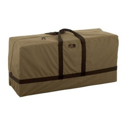 Classic Accessories Hickory Patio Cushion Bag - Tan - Keep your cushions tidy and protected in the Classic Accessories Hickory Patio Cushion Bag - Tan. This cushion bag is made from durable Weather10 material in classic tan with a rugged fabric outer layer and laminated waterproof interior. For accent it's trimmed in Weather Leather that looks authentic but won't rot. Padded handles make carrying cushions or covers a breeze. The zippered opening seals against dirt and debris. Limited lifetime warranty.About Classic AccessoriesFounded from small beginnings, Classic Accessories has grown in the past 30 years from a small basement operation in Seattle's Roosevelt neighborhood making seatbelt pads and steering wheel covers, to a successful and expanding company now making a wide variety of products from car to boat covers and much more. Innovative, stylish designs define products that are functional and made to last. From little details to the largest innovations, Classic Accessories is always moving forward and looking to provide cover and storage solutions to a clientele that has a passion for the outdoors, from backyard gatherings to exciting camping trips, Classic Accessories provides the products that keeps your equipment looking great all season long.