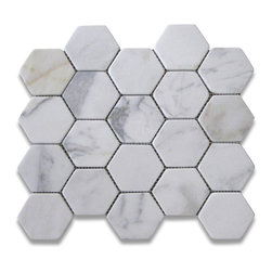 "Stone Center Corp - Calacatta Gold Marble Hexagon Mosaic Tile 3 inch Tumbled - Calacatta gold marble 3"" (from point to point) hexagon pieces mounted on a sturdy mesh tile sheet"