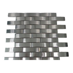 "GL Stone - Bridge Pattern Stainless Steel Mosaic Tile 12""x12"", 1 Carton/ 11 Sheets - Modern style radiates from this bridge pattern tile design in sleek stainless steel, giving your interior decor an unforgettable update and tons of polished allure. The elongated rectangles provide a modern aesthetic. The tile can be mounted vertically or horizontally so that the individual pieces point either vertically or horizontally depending on what type of effect you want to achieve. This is a perfect choice to any interior decor such as kitchen backsplashes, accent walls, bathroom walls, and bathroom back splashes. The tiles in this sheet are mounted on a nylon mesh which allows for an easy installation."