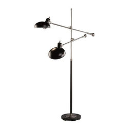 Robert Abbey - Bruno Adjustable Double Arm Pharmacy Floor Lamp by Robert Abbey - The Robert Abbey Bruno Adjustable Double-Arm Pharmacy Floor Lamp features two shades at the end of adjustable boom arms. The shades, lower stem and base have a Lead Bronze finish that is complemented by an Ebonized Nickel on the other metal surfaces. Half-chrome bulbs are recommended to complete the look and minimize glare. Robert Abbey has been designing and manufacturing fine lighting since 1946. They offer a diverse collection--wall swingers, chandeliers, floor lamps and more--in myriad styles, from tradition to neoclassical to groovy. Collaborating with acclaimed designers Jonathan Adler, Rico Espinet and David Easton, Robert Abbey creates impeccable lighting that is perfect for modern everyday living.