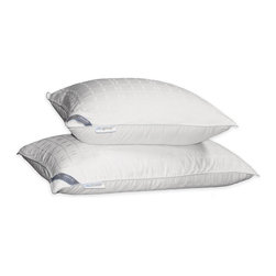 Hotel Grand - Hotel Grand Tencel Check White Down Pillow - This firm,white,down pillow is available in either jumbo or king size,and either size gives you plenty of room and support for a good nights sleep. It features a soft 310-thread-count cover and double-stitched silky piping for comfort and durability.