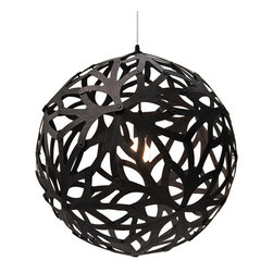 David Trubridge - Floral Pendant - Black - David Trubridge - This form is based on the structure of a geometric polyhedron. Every piece is identical, making home assembly easy. This pendant is based on a flower the photographed on the Bibulman track in Western Australia. The kitsets significantly reduce freighting, which is one of our ways of doing what we can to help preserve our beautiful sea and land environments.