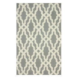 """nuLOOM - 7' 6""""x9' 6"""" Grey Hand Hooked Area Rug Cotton and Wool Trellis - Made from the finest materials in the world and with the uttermost care, our rugs are a great addition to your home."""