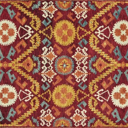 """Loloi Rugs - Loloi Rugs Spencer Collection - Crimson / Gold, 5'-6"""" x 8'-6"""" - The Spencer Collection speaks to recent pattern-heavy fashions, with allover Ikat designs in rich, bold colorations. The hand-knotted New Zealand wool rugs are meticulously sheared for a low pile that is at once contemporary and transitional. Spencer Ikats are equally at home in rustic, southwest and modern urban interiors."""