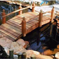 Redwood Garden Bridges - Whitehead Redwood Garden Bridge - 4FTSR - Shop for Gates and Bridges from Hayneedle.com! Create a serene environment in your own backyard with the Whitehead Redwood Single Rail Bridge. Made from the finest California redwood this bridge ranges in size from 4 feet to 14 feet. With its vast size selection you can use these bridges to cover a small pond or simply to make your yard aesthetically pleasing.The angled rails draw attention to the bridge's charming details and elegance. Shipped with a natural redwood finish that ages beautifully with time.Dimensions:4 ft. Bridge: 48L x 30W x 30H inches 5 ft. Bridge: 60L x 32W x 32H inches6 ft. Bridge: 72L x 32W x 32H inches8 ft. Bridge: 96L x 36W x 36H inches10 ft. Bridge: 120L x 36W x 36H inches12 ft. Bridge: 144L x 36W x 36H inches14 ft. Bridge: 168L x 36W x 36H inches