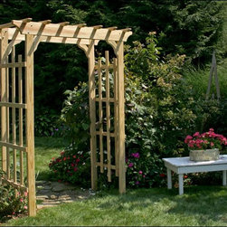 Fifthroom - Treated Pine Rose Arbor Pergola - The unusual design of our Rose Arbor Pergola is especially eye-catching,  with its squared features accentuated by a flat, oriental-style crown.   The widely-placed planks provide plenty of play room for plants and beautiful buds bursting into bloom.   Elegantly hand-crafted from decay-resistant treated pine, it will make a striking entrance to your garden or walkway for years to come.