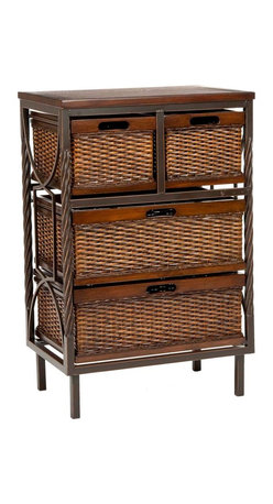 Safavieh - Safavieh Andrew 4 Drawer Storage Unit in Dark Walnut - Frank Lloyd Wright might have stored his sketchbooks in this modern organic masterpiece. The Andrew Storage Unit boasts delicate details carved into sumptuously finished mahogany wood with dark walnut finish, paired with the rich rattan-style texture of four storage bins. What's included: Storage Unit (1).
