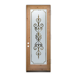 Sans Soucie Art Glass (door frame material T.M. Cobb) - Glass Front Entry Door Sans Soucie Art Glass Carmona - Sans Soucie Art Glass Front Door with Sandblast Etched Glass Design. Get the privacy you need without blocking light, thru beautiful works of etched glass art by Sans Soucie!This glass is semi-private. Door material will be unfinished, ready for paint or stain.Bronze Sill, Sweep and Hinges. Available in other finishes, sizes, swing directions and door materials.Dual Pane Tempered Safety Glass.Cleaning is the same as regular clear glass. Use glass cleaner and a soft cloth.