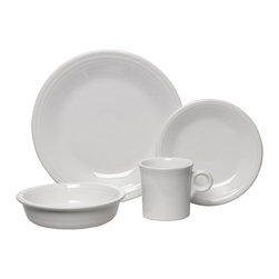 Homer Laughlin China Company - Fiesta 4pc Place Setting, White - Four for dinner. This Fiesta dinnerware set invites you to indulge in a feast for the eyes: You can choose from 15 smooth and glossy color glazes to coordinate or contrast as you like. Each set contains the mainstays for a meal in classic style.