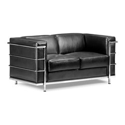 Zuo Modern - Fortress Loveseat Black - A Mid-Century classic series, the Fortress comes with leather seating, leatherette back and side with a chrome steel tube frame. It comes in black, white or espresso.