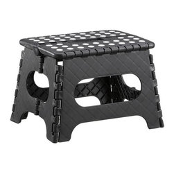 Folding Black Step Stool - Sturdy when you need it, this heavy-duty step stool folds flat for out-of-sight storage (see additional photos).