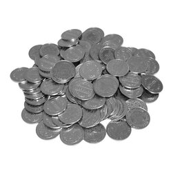 "Trademark Global - Solid Stamped Metal - Pack of 1000 Tokens For - For use in the exciting ""Skill Stop"" electronic slot machines, this is a refill of 1000 tokens. Solid stamped metal, these tokens feature a tree-like design on both sides and are about the size of a United States quarter. 24 mm Hit the jackpot and listen to hundreds of these tokens chime in the money collector!"