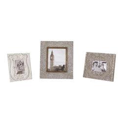 Uttermost Askan Wood Photo Frames Set/3 - Carved mango wood with antique white glaze. Carved mango wood with antique white glaze. Holds photos 4x6, 5x7 & 8x10. Sizes: sm-9x11x1, med-11x13x1, lg-14x16x1