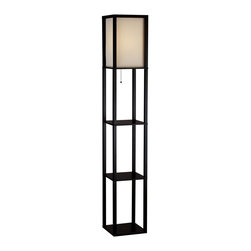 Adesso - Adesso Wright Tall Floor Lamp-Black - Adesso Wright Tall Floor Lamp-BlackHandsomely crafted floor lamp for overall room illuminationMade of black walnut wood; modern open-box frame; 3 flat surfaces for storage/displayCollapsible, natural-silk shade measures 8-1/2 inches across by 14-1/2 inches highPull-chain on/off switch; uses a 150-watt bulb (not included  some assembly requiredLamp measures 10-1/4 inches long by 10-1/4 inches wide by 63 inches highNeed more information on this product? Click here to ask.