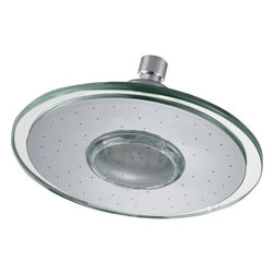 """AKDY - AKDY Round Plastic Chrome Finish Shower Head w/ LED Lights, 9"""", Without Arm - The AKDY shower head is the ultimate study in simplicity. With clear rubber nozzles spread over an 9"""" in diameter circular surface, this shower head delivers a strong downpour of water. Sleek in design, and highly functional, this model was meant for people who want one thing: an amazing shower experience without unnecessary frills."""