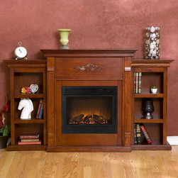 Holly & Martin™ Fredricksburg Electric Fireplace w/ Bookcases-Mahogany - Holly & Martin™ Fredricksburg Electric Fireplace w/ Bookcases-Mahogany is an Eco-friendly fireplace that consist of bookshelves for multipurpose. This fireplace is in mahogany finish that will compliment any decor in your home. You can place it in dining room for romantic dinners or compliment your media room with ventless fireplace below your flat screen television.