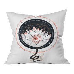 DENY Designs - DENY Designs Hector Mansilla Lotus Throw Pillow - Wanna transform a serious room into a fun, inviting space? Looking to complete a room full of solids with a unique print? Need to add a pop of color to your dull, lackluster space? Accomplish all of the above with one simple, yet powerful home accessory we like to call the DENY throw pillow collection! Custom printed in the USA for every order.