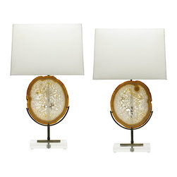 Table Lamps by Alchemy Collection - We create table lamps in limited edition models with only the best natural specimens, custom shades, and handcrafted metal mount work and details. Please inquire about available inventory or pieces in production.