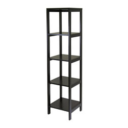 Winsome Wood - Hailey 5-Tier Wood Shelf Tower Shelf in Dark - 5 Tiers. Made of solid and composite wood. Assembly required. 15.04 in. W x 15.04 in. D x 60.43 in. HHailey line of modular entertainment and storage or display furniture, this 5-Tier Wood Shelf in Espresso finish is designed to stand alone or be paired with other pieces to create and entertainment set.