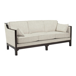 Kathy Kuo Home - Lila Contemporary Straight Arm Exposed Dark Wood Sofa - Deco, modern, Asian and contemporary, this sofa is like a grand luxury liner. It's sleek and understated and tailored with dark wood arms and a frame covered in fine, Belgian linen. And whether you're dressed in tails or seersucker, you're bound to look good on it and headed for an amazing destination.