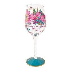"""Lilly Pulitzer - Lilly Pulitzer Hand Painted Wine Glass, Trippin' and Sippin' - With our one-of-a-kind Lilly Pulitzer Hand Painted Wine Glass showcase how unique you are. Each glass is hand painted with """"Too Much is Never Enough"""", includes fine detail with gold accents and is packaged in an attractive gift box. A perfect present for the hostess, birthday girl, wine girlfriends or yourself."""