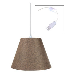 "Home Concept - 1-Light Plug-In Swag Pendant Lamp Light Oatmeal 6x12x9 - Plug In Swag Pendant - The perfect addition to any dark corner, or above a table that the builder didn't provide electrical wiring. You will love your swag pendant light because it can move anywhere and put the light exactly where you need it. Wondering about size?  Simply add the length and width of your space and that will give you the maximum bottom width of your pendant. If your swag is not centered in the room, you should likely use smaller measurements to define the ""space"" you are lighting up.      Why Upgrade to Home Concept Signature Pendants?       Top Quality Premium Lampshades means your room will glow with a rich, warm luster your guests will notice.  Plus we include upgrades like a premium inner lining and dual bulb clips so your new shade will last for years.      Heavy brass and steel frames mean you can feel the difference when you lift it."