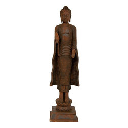 """Oriental Furniture - 21"""" Standing Semui-in Rust Patina Buddha Statue - A finely detailed casting of a timeless Burmese masterpiece, reflecting the unique artistic conventions of ancient Southeast Asian traditional Buddhist art. Standing at well over a foot and a half tall, a substantial object d'art. Buddha's hands are positioned in the traditional Semui-in and yogan-in gestures. Display as a decorative accent on a pedestal, art stand, or bookcase, in the entry way, living room, or study."""