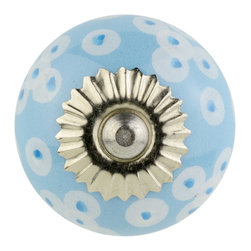 Knob Lovers - Cassidy Knob - More polka dots, more fun! Meet Cassidy, a light blue ceramic knob with hand painted white and blue polka dots. She is set upon a silver mount and is topped with a silver cap.