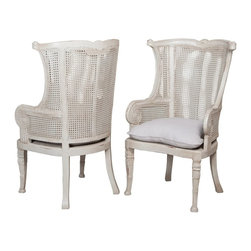 """Guildmaster - Pair of Caned Wing Back Chairs (Ice Gray) by Guildmaster - Echoing the style of a traditional wing back chair is the Caned Wing Back finished in ice gray. This will truly blend wherever you use it. At the ends of a dining room table or paired and separated by an occasional table. (GM) 30"""" wide x 49"""" high x 30"""" deep sold as a pair linen cushions included."""
