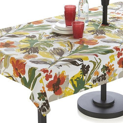 "Handpainted Floral 54""x120"" Umbrella Tablecloth - Hand-painted strokes of bottle green, paprika, sulfur, sprout ribbon red and brown splash expressive and retro in a lush, 1940s-inspired floral pattern. No need to remove the umbrella, our specially designed tablecloth wraps around the pole, snapping into place."