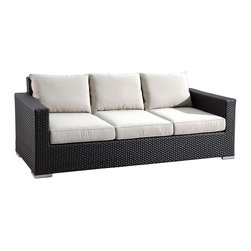 3 Piece Solana Outdoor Wicker Sofa Set by Sunset West - The 3 Piece Solana Wicker Sofa Set by Sunset West (1501-3Pc) offers a refreshingly contemporary design for your patio. Inspired by the costal cultures of California, this set turns your outdoor space into a private beachside lounge. Not only will this set look great, but its high density polyethylene (HDPE) wicker, all-weather Sunbrella cushions, and durable aluminum frames will look outstanding for years. For extra outdoor endurance, the HDPE wicker is UV protected, environmentally friendly, and recyclable. Complete your backyard paradise with the Solana collection!