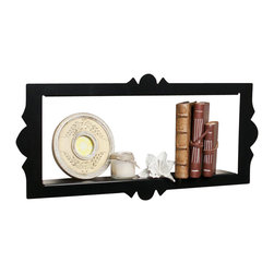 Danya B - Scalloped Frame Rectangular Metal Floating Shelf in Black - Scalloped edges and floating effect makes it resemble a frame rather than a wall shelf. Metal construction with glossy black powder coated smooth finish. Screws and simple installation instructions included - keyhole style mounting.. 26.5 in. L x 3 in. W x 12.5 in. H (4.75 lbs)