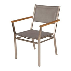 Barlow Tyrie - Barlow Tyrie - Equinox Armchair - TeakArmRest - Platinum - Stacking armchair with stainless steel frame with Textilene seat or Teak Seat, back and powder coated or teak armrests.
