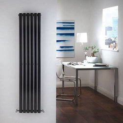Hudson Reed - Single Panel Black Gloss Vertical Designer Radiator 59 x 14 & Valves - With a heat output of 756 Watts (2,579 BTUs), this designer radiator, in a fashionable high gloss black finish (RAL9005), is stylish and highly efficient, ensuring that your room is heated quickly.This luxury radiator is designed especially for use in any room, looking equally stylish in a modern or traditional setting; its six Black Gloss vertical columns bring a touch of elegance to any living space. This modern version of the traditional cast-iron radiator is also highly functional, connecting directly into your domestic central heating system via the angled radiator valves included. This radiator comes complete with a 5 YEAR WARRANTY.Revive Single Panel Black Gloss Vertical Designer Radiator 59 x 14 Details • Dimensions: (H x W x D) 59 x 14 x 4 (1500mm x 354mm x 78mm)• Output: 756 Watts (2,579 BTUs)• Pipe centres with valves: 17 (430mm)• Depth when fitted: 4 (100mm)• Wall to centre of tapping: 2.5 (65mm)• Number of columns: 6• Oval crossbars• Designed to be plumbed into your central heating system • Suitable for bathroom, cloakroom, kitchen etc. • Please note: angled radiator valves are included Buy now, to transform your living space, at an affordable price.10 year WARRANTY Please Note: Radiator and Valves are shipped from two separate warehouses Please Note: Our radiators are designed for forced circulation closed loop systems only. They are not compatible with open loop, gravity hot water or steam systems.