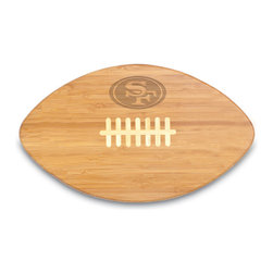 Picnic Time - Picnic Time San Francisco 49ers Touchdown Pro! Bamboo Cutting Board - Perfect for cookouts and tailgating,this bamboo San Francisco 49ers makes a great gift for your favorite football fan. Made from sustainable bamboo and shaped like a football,this unique cutting board is engraved with the 49ers logo.