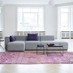 Omno Modern Sectional Sofa - Minimalist clean-lined styling, soft fabric upholstery and three pieced versatility combine to make this Omno Sectional an instant upgrade to your current decor.