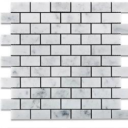 "Tiles R Us - Carrara White Marble Polished 1X2 Brick Subway Mosaic Tile, Box of 5 Sq. Ft. - - Italian Carrara White Marble 1"" X 2"" Polished (Shiny Finish) Subway Brick Mosaic Tile."