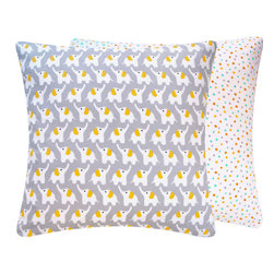Chloe & Olive LLC - Organic Cotton Throw Pillow with Elephants, Yellow & Gray, 18x18 - Pure and natural for your little one, Chloe & Olive's collection of super soft 100% organic pillows will make your little one squeal in delight!
