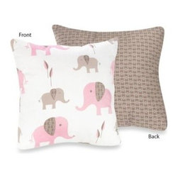 Sweet Jojo Designs - Sweet Jojo Designs Mod Elephant Decorative Toss Pillow in Pink/Taupe - The Pink and Taupe Mod Elephant Collection of bedding and accessories from Sweet Jojo Designs will help you design an incredible room for your child. This adorable set features a fun elephant print and pink, taupe and white colors.