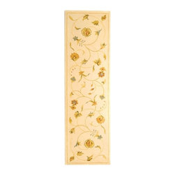 Safavieh - Handmade Summer Bouquet Ivory Wool and Silk Runner (2'6 x 12') - Deck your halls with this beautiful runner area rug featuring a winding floral design with timeless appeal. The rug has an ivory background with accents of orange, red, and green, and the wool pile is soft to the step thanks to traces of real silk.