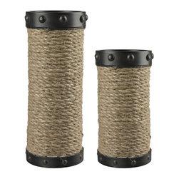 Sterling Industries - Set Of 2 Natural Rope Wrapped Candle Holders - Set Of 2 Natural Rope Wrapped Candle Holders