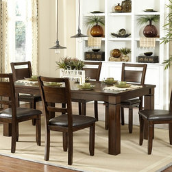 Homelegance - Homelegance Finnian Dining Table in Warm Walnut - With hints of contemporary style and unfettered design that lends to placement in a number of dining environments  the Finnian Collection in warm walnut finish will be a welcome addition to your home. Walnut inlay veneer is featured prominently in a modern square pattern while heavily routed accents adorn the substantially sized table legs. The coordinating chairs have a dark brown bi-cast vinyl seat and broad horizontal slat backs.