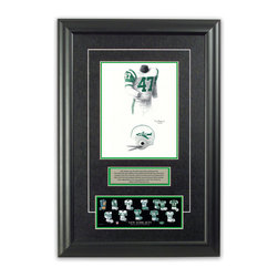 """Heritage Sports Art - Original art of the NFL 1963 New York Jets uniform - This beautifully framed piece features an original piece of watercolor artwork glass-framed in an attractive two inch wide black resin frame with a double mat. The outer dimensions of the framed piece are approximately 17"""" wide x 24.5"""" high, although the exact size will vary according to the size of the original piece of art. At the core of the framed piece is the actual piece of original artwork as painted by the artist on textured 100% rag, water-marked watercolor paper. In many cases the original artwork has handwritten notes in pencil from the artist. Simply put, this is beautiful, one-of-a-kind artwork. The outer mat is a rich textured black acid-free mat with a decorative inset white v-groove, while the inner mat is a complimentary colored acid-free mat reflecting one of the team's primary colors. The image of this framed piece shows the mat color that we use (Medium Green). Beneath the artwork is a silver plate with black text describing the original artwork. The text for this piece will read: This original, one-of-a-kind watercolor painting of the 1963 New York Jets uniform is the original artwork that was used in the creation of this New York Jets uniform evolution print and tens of thousands of other New York Jets products that have been sold across North America. This original piece of art was painted by artist Tino Paolini for Maple Leaf Productions Ltd. Beneath the silver plate is a 3"""" x 9"""" reproduction of a well known, best-selling print that celebrates the history of the team. The print beautifully illustrates the chronological evolution of the team's uniform and shows you how the original art was used in the creation of this print. If you look closely, you will see that the print features the actual artwork being offered for sale. The piece is framed with an extremely high quality framing glass. We have used this glass style for many years with excellent results. We package ev"""