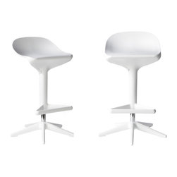 "Ariel - Set of 2 Citterio Style ABS Adjustable Height Spoon Stool White Color - Inspired by the humble spoon, the Citterio Style ABS Molded Plastic Adjustable Height Spoon Stool is a class leader in flexibility and comfort. Featuring a wide rounded seat with triangular leg rests, and an adjustable height gas lift pump, the Spoon Stool creates a look like none other. Dimensions: 17""W x 32""H x 16""D"