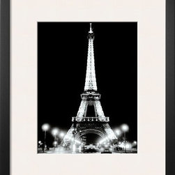 Artcom - Eiffel Tower at Night by Cyndi Schick Artwork - Eiffel Tower at Night by Cyndi Schick is a Framed Art Print set with a SOHO Thin wood frame and a Polar White mat.