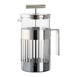 """Alessi - Alessi Coffee Press - You'll be inspired to get up out of bed, knowing a pot of freshly pressed coffee is in your near future. This stunning coffee press, with its gleaming T-shaped plunger and easy-grip handle, makes for a worthwhile """"rise and shine."""""""