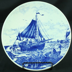 Chemkefa - Vintage Transferware Blue Delft Plate Boat - Product Details