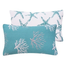 Chloe and Olive - Wonders of the Seas Turquoise Collection Pillow, 12x20 - Create a seaside retreat easily and quickly with this nautical and ocean-inspired collection.