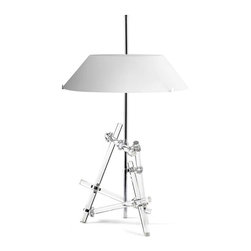Fontana Arte - Ashanghai Table Lamp - Ashanghai Table Lamp features a frame and fittings in Chrome plated brass and base made from transparent borosilicate glass. Main diffuser in White acid etched cased blown glass with a floating glass sheet top diffuser sandblasted on both sides. Three 40 watt 120 volt G9 halogen lamps not included. 18.5 inches wide x 30.3 inches high. Includes dimmer control.